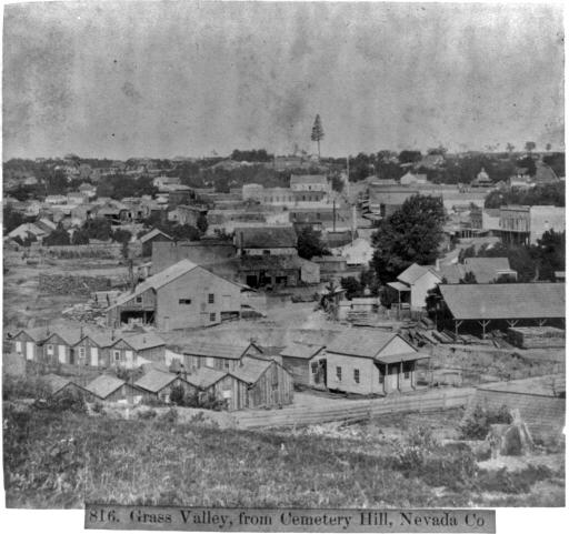 Grass Valley: 1866: An 1866 image from a Gems of California stereograph showing Grass Valley, from Cemetery Hill in Nevada County.