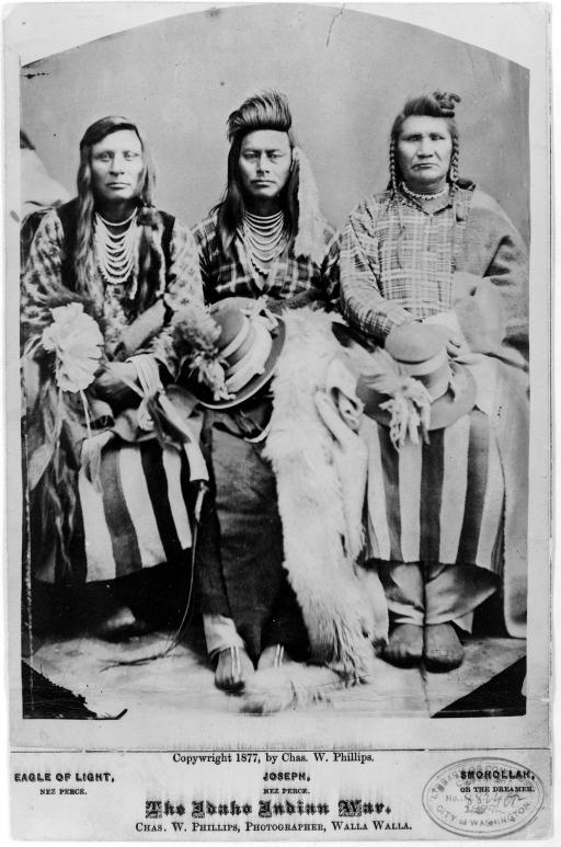 The Idaho Indian War: Caption identifies sitters as Eagle of Light, Nez Percé; Joseph, Nez Percé; and (Smohollah). However, Bill Gulick in Chief Joseph Country: Land of the Nez Percé, 1981, identifies sitters in this image as Billy Carter, Ollokot (Chief Joseph's brother) and
