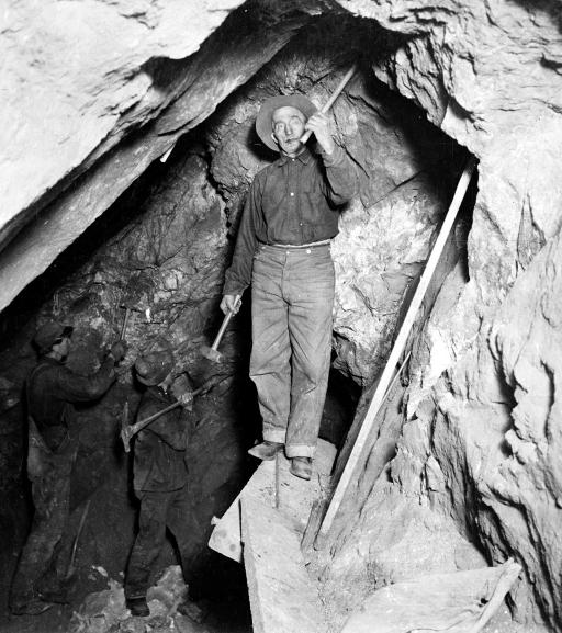 Gold miners: c1905: Miners at work in the stope of the California mine, Eagle River Canyon, Colorado.
