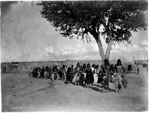 Tablita Dance: Tewa Indians dancing in line formation. Photograph by Edward S. Curtis, 1905.